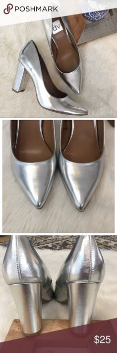 """Dolce Vita dv Silver Block Heels. NWOT Dolce Vita Silver Block Heel pointed toe pumps. Size 8.5. NWOT  03950 Measurements  Heel 4"""" Bundle in my closet and save. I ship same day or next day almost always! No trades Dolce Vita Shoes Heels"""
