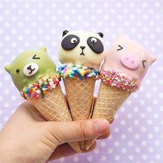Animal ice cream cakes by Vickie Liu (@vickiee_yo)