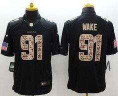 Nike Miami Dolphins Jersey 91 Cameron Wake Salute to Service Black Limited  Jerseys bd2ea3763