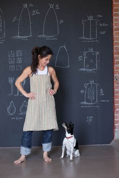 It's a good life being the studio dog at Rae Dunn Clay. Japanese Apron, Earthy Style, Room Of One's Own, Recycled Fashion, Apron Dress, Pottery Studio, Textiles, Linen Dresses, Fabric Scraps