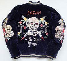Japanese Vintage KOSHO & Co Tiger Bond Fuji Dragon Skull Bone Skeleton Rose Punk Rock Navy Blue Velveteen Quilted Souvenir Sukajan Jacket - Japan Lover Me Store
