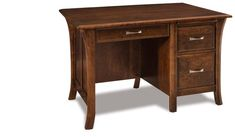 "Amish 50"" Ensenada Computer Desk Small solid wood desk with beautiful features handcrafted in Amish country. This is luxurious office furniture you can use for decades."
