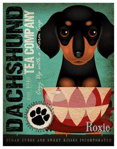 Tea Cup Dachshund Art Print  by DogsIncorporated ♥♥♥♥♥♥ dauchshund dauchshunds weenier weeniers weenie weenies hot dog hotdogs doxie doxies ♥♥♥♥♥♥