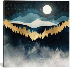 Indigo Night Canvas Wall Art Print by SpaceFrogDesigns. Check out the work of one of our top 25 favorite artists on Society Other print options are available to you as wall art and home décor doe this amazing design, come check them all out today. Doodle Drawing, Canvas Wall Art, Canvas Prints, Painting Prints, Art Prints, Nature Posters, Guache, Leonid Afremov Paintings, Oeuvre D'art