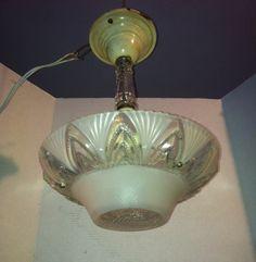 VTG 1930s ART DECO CEILING LIGHT FIXTURE LAMP CHANDELIER GLASS SHADE 3 CHAIN picclick.com
