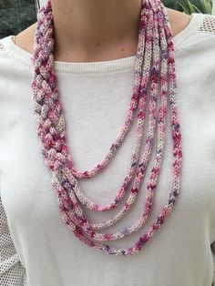 Handmade, one of a kind, pink and white yarn french knitted/braided necklace. Great as a gift, shipped in organza gift bag. Washable # crochet Braids cord Items similar to Handmade french knitted infinity scarf on Etsy Spool Knitting, Knitting Blogs, Knitting Patterns, Crochet Patterns, Knitted Necklace, Braided Necklace, Knitted Jewelry, Yarn Necklace, Infinity Necklace