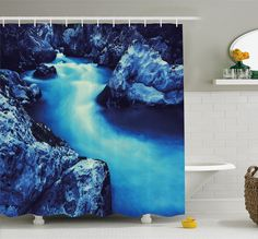 Waterfall Frozen Dangerous Lake with Atmosphere of a Cave and Snow on the Rocks Shower Curtain Set