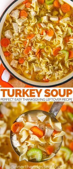 Turkey Soup Recipe - Dinner, then Dessert Turkey Soup is an easy Thanksgiving leftovers recipe made with turkey, noodles, and veggies that is a perfect laid back meal to recoup from a busy week. Best Turkey Soup, Slow Cooker Turkey Soup, Creamy Turkey Soup, Homemade Turkey Soup, Leftover Turkey Soup, Turkey Noodle Soup, Turkey Soup From Carcass, Thanksgiving Leftover Recipes, Thanksgiving Leftovers
