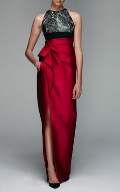 Column Gown With Lurex Cloque Jacquard Bodice And Belt by J. Mendel for Preorder on Moda Operandi