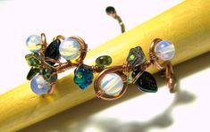 Opalite Copper Wire Wrapped Floral Leaf Bracelet by LunaEssence