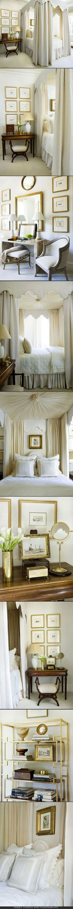 Phoebe Howard. Atlanta showhouse. Layers of ivory and cream, Embroidered sheets n duvet cover, quilted cotton sateen coverlet n shams, monogrammed pillows; ranging from white linen to champagne-colored embroidery inspired color scheme. Faux shagreen wallpaper, pale-beige upholstery. For balance, more masculine furniture. Embroidered linen for outer bed curtains, sheer silk w/ tiny scalloped trim for inner.