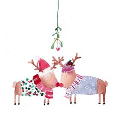 Reindeer Mistletoe Christmas Card