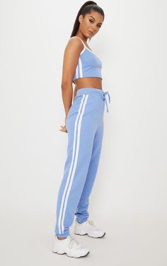 Shop the range of tops today at PrettyLittleThing. Athletic Outfits, Sport Outfits, Cute Outfits, Swag Outfits, Blue Crop Tops, Striped Crop Top, Blue Adidas Pants, Blue Two Piece, Two Piece Outfit