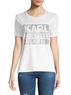 KARL LAGERFELD STUDDED GRAPHIC TEE. #karllagerfeld #cloth #