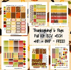 Thanksgiving KIT! | Free Printable Planner Stickers