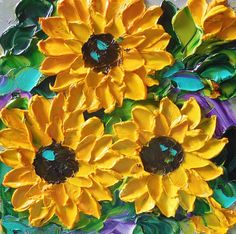 "Jan Ironside ""Sunflowers"" Oil paint on canvas (palette knife impasto technique)"
