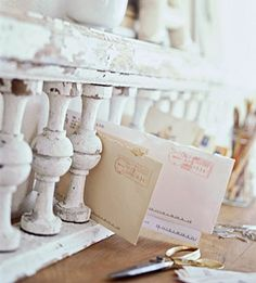 From vintage porch railing to mail organizer. DIY a'la BHG. Cute & clever!