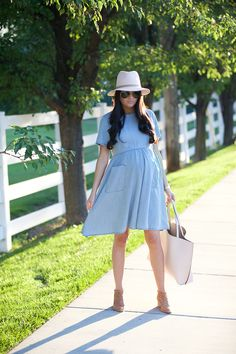 A chambray dress for summer and fall is an absolute wardrobe staple!! For all you ladies who aren't pregnant and are looking for a great chambray dress, see below from my clothing line!!