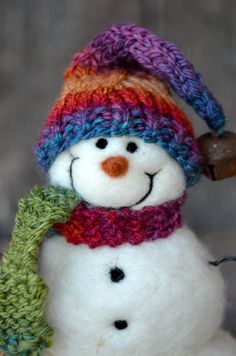 Snowmen Needle Felted Wool Snowman by BearCreekDesign