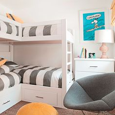 "Cari chose a large stripe for the bunk beds in the kids' room to create a dynamic focal point, and maximized space with overlapping bunks: ""Scale is important here; I don't like to furnish a small room with small pieces."""