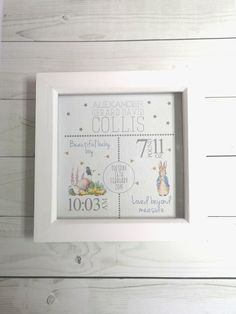Peter Rabbit New Baby Birth details Frame - Baby Boy gift - Print box frame - Newborn Gift - Personalised/Personalized New Baby Gift