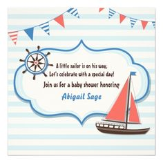 Nautical Sailboat Baby Shower Invitations for Boys