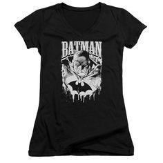 BATMAN/BAT METAL - JUNIOR V-NECK - BLACK -