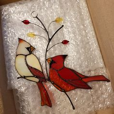 Couple of Red Cardinals stained glass decor Custom stained glass bird suncatcher gift for mom