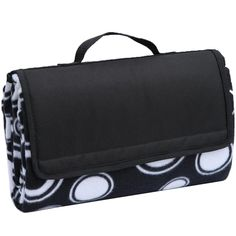 """APOLLO WALKER 80"""" x 60"""" Large Picnic Outdoor Blanket Tote with Waterproof Backing - Handy Picnic Mat, Black. Quality PEVA Backing - The super sturdy, soft and waterproof PEVA backing prevents ground moisture from penetrating - no more 'wet bottom' picnics. Extra Large - Blanket measures 80 x 60 inches when open, and folds to a compact tote 14 x 10 x 4 inches for easy carry. Comfortable - Cushioned soft fleece blanket is skin friendly and will provide hours of comfort and warmth. Easy to..."""