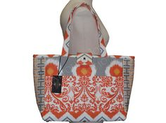 Orange Grey White Travel Tote  Damask Polka Dot by TalfourdJones, $200.00