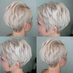 Short ash blonde hair by Ashlee Hill at Salon Incognito