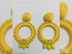 Argollas de modas - YouTube Beaded Earrings, Beaded Jewelry, Crochet Earrings, Drop Earrings, Tatting Jewelry, Silk Ribbon Embroidery, How To Make Earrings, Wedding Jewelry, Christmas Crafts