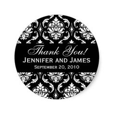 Black and White Wedding Damask Thank You Label Sticker