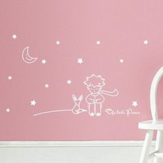 XILALU Stars Moon The Little Prince Boy Wall Sticker Home Decor baby room Wall Decals (White)