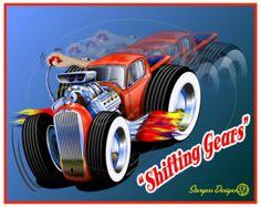 Street Rod Caricatures | Shifting Gears - cartoon style hot rod digital print
