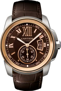 Calibre de Cartier watch Large model, 18K pink gold and steel, leather