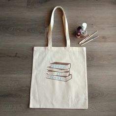 Books Sorry I m Booked handpainted handcrafte Plastic Shopping Bags, Cellophane Bags, Stencil Painting, Market Bag, Cotton Bag, Canvas Tote Bags, Hand Painted, Shoulder Bag, Books