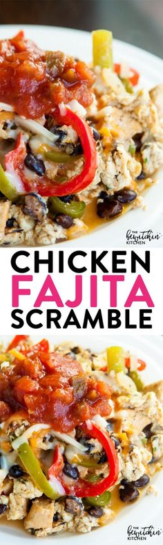 Chicken Fajita Scramble - chicken breakfast recipes have never been so good. This also makes a delicious (and healthy) lunch idea that is 21 Day Fix and PiYo approved. Healthy eating is easy with recipes like this.