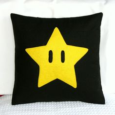 Super Mario Brothers- Star Pillow Cover- 14x14 inches- Eco Friendly. $18.00, via Etsy.