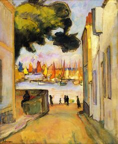 Street by the Port at Collioure, 1921. Henri Lebasque (1864-1937) vision was coloured by his contact with The Nabis' Group, who were the Intimists that first favoured the calm and quietude of domestic subject matter. From his acquaintance with Seurat & Signac, he learnt the use of complementary colours in shading. He was a founding member of the Salon d'Automne in 1903 with Matisse.  Manguin, ntroduced Lebasque to the South of France and changed his colour palette..