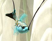 BLUE FISH, Textile Pendant, Summer Decor, Fiber Art Jewellery