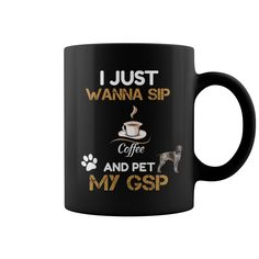 Gsp sip coffee and pet german shorthaired pointer