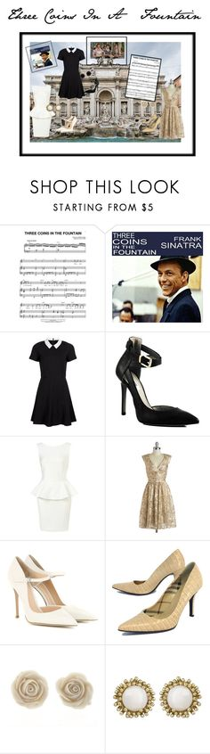 """""""Three Coins In A Fountain"""" by jostockton ❤ liked on Polyvore featuring Fountain, French Connection, GUESS, Gianvito Rossi, Burberry, Kendra Scott and Anne Klein"""