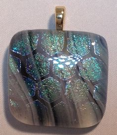Grey, White and Black Streaks with Iridescent Hexagon Dichroic Overlay, Pendant  http://www.glassbyhelen.com