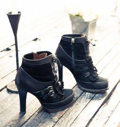 Black buckled high heeled ankle boots - Hilary Rhoda