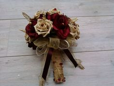 Bouquet - burgundy and mocha gold silk and foam roses, with bead leaf details and vintage crystal brooch.
