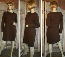 Yves Saint Laurent Tailored Brown Wool Shift Dress M/L