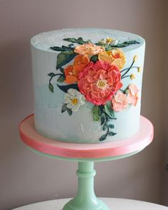 Happy first day of SPRING! This painted buttercream beauty was inspired by and Happy first day of SPRING! This painted buttercream beauty was inspired by and Rifle Paper Co. Gorgeous Cakes, Pretty Cakes, Cute Cakes, Amazing Cakes, Pretty Birthday Cakes, Dessert Design, Bolo Cake, Gateaux Cake, Painted Cakes