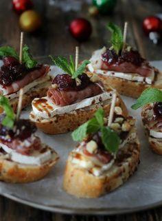 Cranberry, Brie and Prosciutto Crostini with Balsamic Glaze   Mark McEwan's Recipes