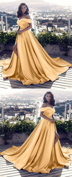 Gold Satin Off Shoulder Prom Dresses 2018 Long